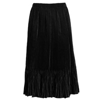 Mini-pleat calf length skirt - black - satin polyester