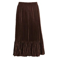 Mini-pleat calf length skirt - brown - satin polyester