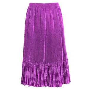 Mini-pleat calf length skirt - purple - satin polyester