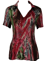 1/2 Sleeve with Collar mini pleat top - Abstract Floral - Pink-Green