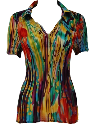 1/2 Sleeve with Collar mini pleat top -  Abstract Floral - Rainbow