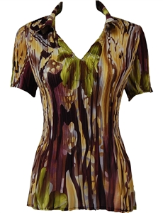 1/2 Sleeve with Collar mini pleat top - Abstract Floral - Eggplant-Gold