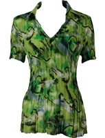 1/2 Sleeve with Collar mini pleat top - Abstract Watercolors Lime-Black