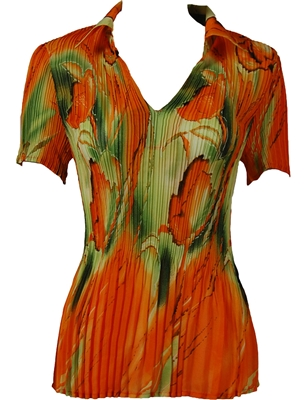 1/2 Sleeve with Collar mini pleat top - Floral Watercolors - Green-Orange