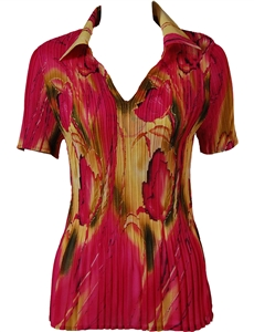 1/2 Sleeve with Collar mini pleat top - Floral Watercolors - Magenta-Gold
