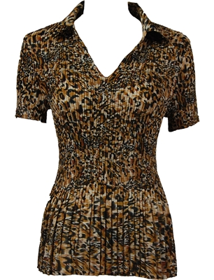 1/2 Sleeve with Collar mini pleat top - Leopard Print