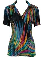 1/2 Sleeve with Collar mini pleat top - Rainbow Swirl on Black