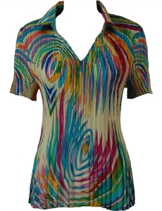 1/2 Sleeve with Collar mini pleat top - Rainbow Swirl on Ivory