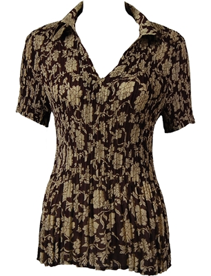 1/2 Sleeve with Collar mini pleat top - Floral Brown-Ivory