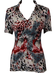 1/2 Sleeve with Collar mini pleat top - Reptile Floral - Red