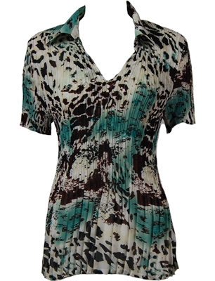 1/2 Sleeve with Collar mini pleat top - Reptile Floral - Teal