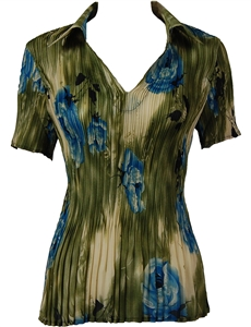1/2 Sleeve with Collar mini pleat top - Roses Olive-Blue