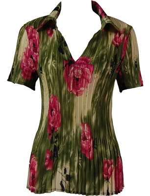 1/2 Sleeve with Collar mini pleat top - Roses Olive-Pink