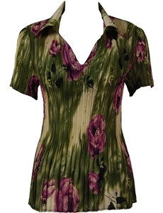 1/2 Sleeve with Collar mini pleat top - Roses Olive-Purple