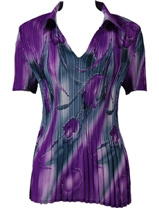 1/2 Sleeve with Collar mini pleat top - Tulips Charcoal-Purple
