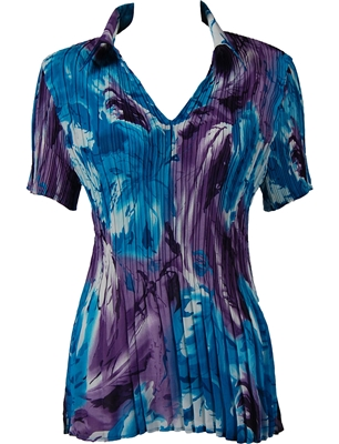1/2 Sleeve with Collar mini pleat top - Turquoise-Purple Watercolors