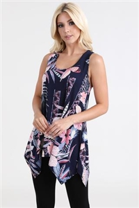 Two point tank top - navy with flowers - polyester/spandex