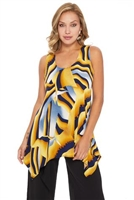 Two point tank top - yellow/grey print - polyester/spandex