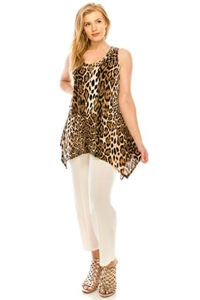 Two point tank top - brown leopard - polyester/spandex