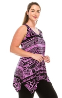 Two point tank top - purple Aztec print - polyester/spandex