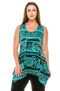 Two point tank top - blue Aztec print - polyester/spandex