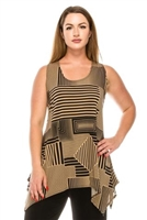 Two point tank top - black/beige stripes - polyester/spandex