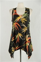 Two point tank top - black with colorful leaves - polyester/spandex