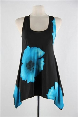 Two point tank top - blue big flower - polyester/spandex