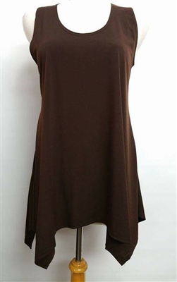 Two point tank top - brown - polyester/spandex