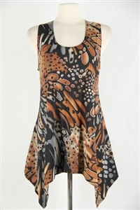 Two point tank top - brown/grey animal  - polyester/spandex