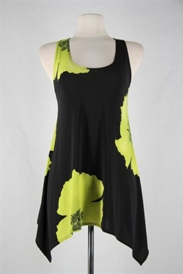 Two point tank top - green big flower - polyester/spandex