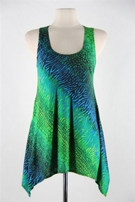 Two point tank top - green tie dye  - polyester/spandex