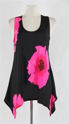 Two point tank top - pink big flower - polyester/spandex