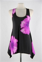 Two point tank top - purple big flower - polyester/spandex