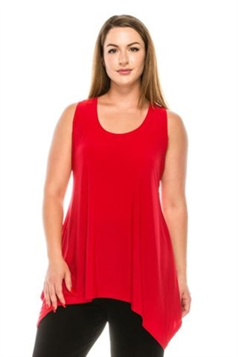 Two point tank top - red - polyester/spandex