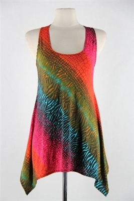 Two point tank top - red/green tie dye - polyester/spandex