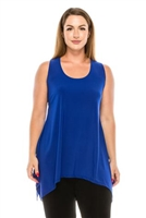Two point tank top - royal blue - polyester/spandex