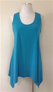 Two point tank top - turquoise - polyester/spandex
