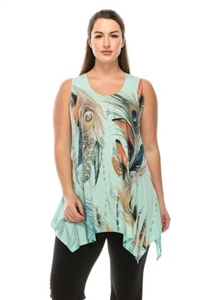 Two point tank top - mint - feathers with stones - polyester/spandex