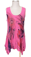 Two point tank top - pink - feathers with stones - polyester/spandex