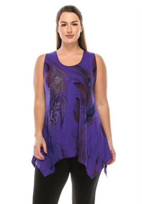 Two point tank top - purple - feathers with stones - polyester/spandex