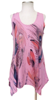 Two point tank top - rose - feathers with stones - polyester/spandex