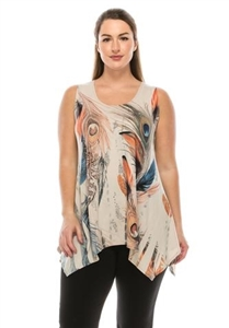 Two point tank top - sand - feathers with stones - polyester/spandex