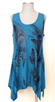 Two point tank top - teal - feathers with stones - polyester/spandex