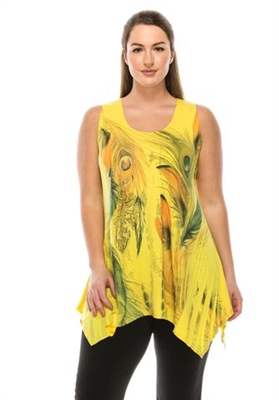 Two point tank top - yellow - feathers with stones - polyester/spandex