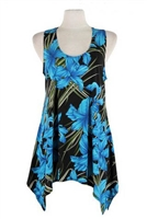 Two point tank top - blue iris - polyester/spandex