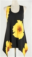 Two point tank top - yellow big flower - polyester/spandex