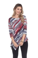 3/4 sleeve asymmetric tunic top - red/grey - polyester/spandex