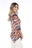 3/4 sleeve asymmetric tunic top - rust print - polyester/spandex