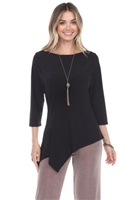 3/4 sleeve asymmetric tunic top - black - polyester/spandex